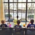 Benjamin, Vivian et John, les enfants de Tom Brady, quelques heureus avant son match avec les Patriots de New England du 18 janvier 2015 face aux Colts d'Indianapolis - photo publiée sur le compte Instagram de Giselle Bündchen