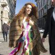 La créatrice Natasha Zinko arrive au théâtre La Scala pour assister au défilé Dolce & Gabbana Alta Moda printemps-été 2015. Milan, le 30 janvier 2015.