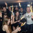 Exclusif - Luka Karabatic, Tony Gomez, Nikola Karabatic, Cédric Sorhaindo, Thierry Omeyer, Kevynn Nyokas - Les champions du monde de handball fêtent leur victoire au Queen à Paris le 2 février 2015.
