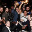 - Les champions du monde de handball fêtent leur victoire au VIP Room à Paris le 2 février 2015.