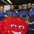 Xavier Barachet, Luka Karabatic, Igor Anic et Cyril Dumoulin - Les joueurs de l'équipe de France de Handball (5 fois champions du monde) arrivent à l'aéroport de Roissy-Charles-de-Gaulle, le 2 février 2015.