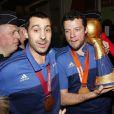 Guillaume Joli et Michaël Guigou - Les joueurs de l'équipe de France de Handball (5 fois champions du monde) arrivent à l'aéroport de Roissy-Charles-de-Gaulle, le 2 février 2015.