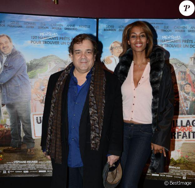 Didier Bourdon et sa femme Marie - Avant-première du film Un village presque parfait, le 8 février 2015 au Gaumont Marignan à Paris