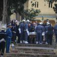 Alexandre Arcady et Norbert Balit - Obsèques de Roger Hanin au cimetière Saint-Eugène à Alger, le 13 février 2015.