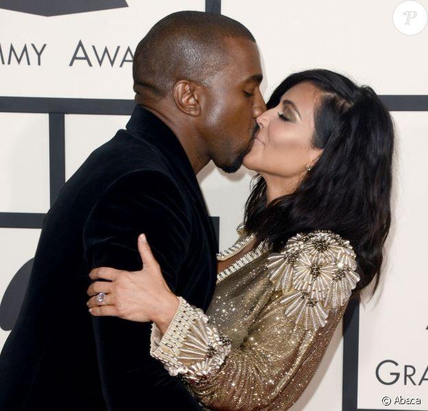 Kanye West et Kim Kardashian aux 57e Grammy Awards au Staples Center. Los Angeles, le 8 février 2015.
