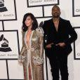 Kanye West et sa femme Kim Kardashian lors de la 57ème soirée annuelle des Grammy Awards au Staples Center à Los Angeles, le 8 février 2015.
