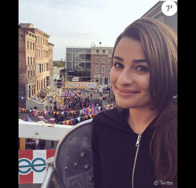 Lea Michele lors du tournage de la 6e saison de Glee, le 22 février 2015