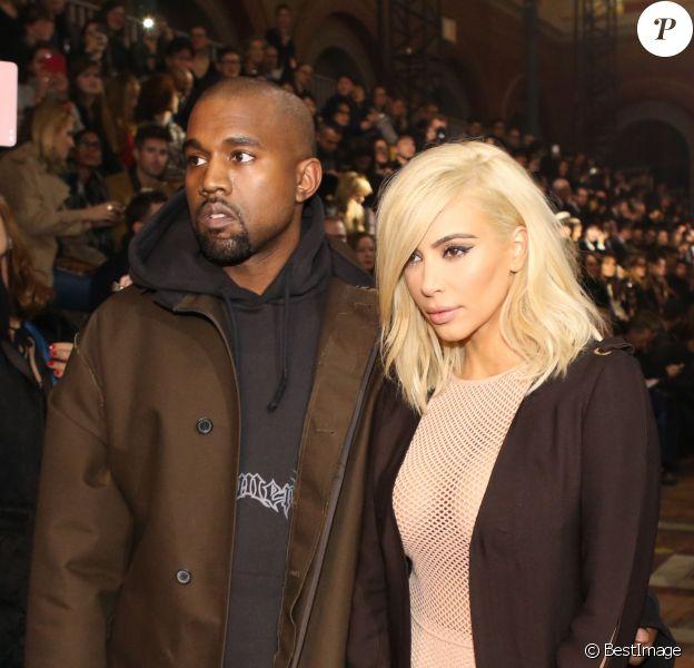 Kanye West et sa femme Kim Kardashian - People au défile de mode Lanvin collection Automne-Hiver 2015-2016 lors de la fashion week à Paris, le 5 mars 2015.