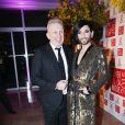 Jean Paul Gaultier et Conchita Wurst - Dîner de la mode pour le Sidaction au pavillon d'Armenonville à Paris le 29 janvier 2015.