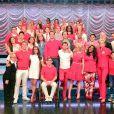 L'équipe de Glee, à Los Angeles, le 21 février 2015