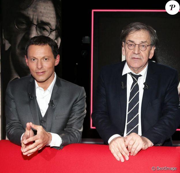 Exclusif - Alain Finkielkraut et Marc-Olivier Fogiel, sur le tournage de l'émission Le Divan, enregistrée le vendredi 13 mars 2015, et diffusée le 24 mars 2015, sur France 3.