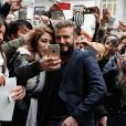 David Beckham arrive au magasin H&M sur la rue Gran Vía à Madrid, pour le lancement de la collection Modern Essentials d'H&M. Madrid, le 20 mars 2015.
