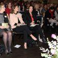 La princesse Madeleine de Suède, enceinte, assiste à une conférence sur le trafic d'être humain et l'exploitation sexuelle à Stockholm le 23 mars 2015.