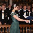La princesse Victoria de Suède assiste à la célébration annuelle des Lettres de l'Académie Royale à la Riddarhuset à Stockholm, le 20 mars 2015.