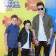 Brooklyn Beckham et ses deux petits frères Romeo et Cruz assistent à la 28e édition des Kids Choice Awards, au Forum. Inglewood, Los Angeles, le 28 mars 2015.