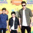 Romeo, Cruz et Brooklyn Beckham assistent à la 28e édition des Kids Choice Awards, au Forum. Inglewood, Los Angeles, le 28 mars 2015.