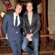 """Les jumeaux James et Oliver Phelps - Vernissage de l'exposition """"Harry Potter"""" à la Cité du Cinéma à Saint-Denis, le 2 avril 2015."""