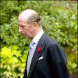 Le prince Edward, duc de Kent, au mariage de Lady Tamara Grosvenor et Edward Van Cutsem à Londres en novembre 2004