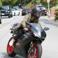 """Exclusif - Prix Spécial - Justin Bieber fait de la moto à Los Angeles, le 17 mars 2015. Le chanteur a customisé sa moto Ducati avec ses initiales """"JB""""."""