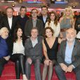 "Jean-Claude Deret, Zabou Breitman, Daniel Auteuil, Isabelle Gélinas, Gérard Jugnot, Éric Viellard, Michel Drucker, Eric Elmosnino, Hubert Saint-Macary, Marc Lavoine, Julie Zenatti, Sophie Tapie et Christophe Willem - Enregistrement de l'émission ""Vivement Dimanche"" à Paris le 8 avril 2015."