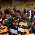 """Charlène de Monaco lors de la 5e édition du """"Tournoi Sainte-Dévote"""" organisé par la Fondation Princesse Charlène de Monaco et la Fédération Monégasque de Rugby au Stade Louis II à Monaco, le samedi 11 avril 2015."""