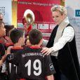 """La princesse Charlène de Monaco lors de la 5e édition du """"Tournoi Sainte-Dévote"""" organisé par la Fondation Princesse Charlène de Monaco et la Fédération Monégasque de Rugby au Stade Louis II à Monaco, le samedi 11 avril 2015."""
