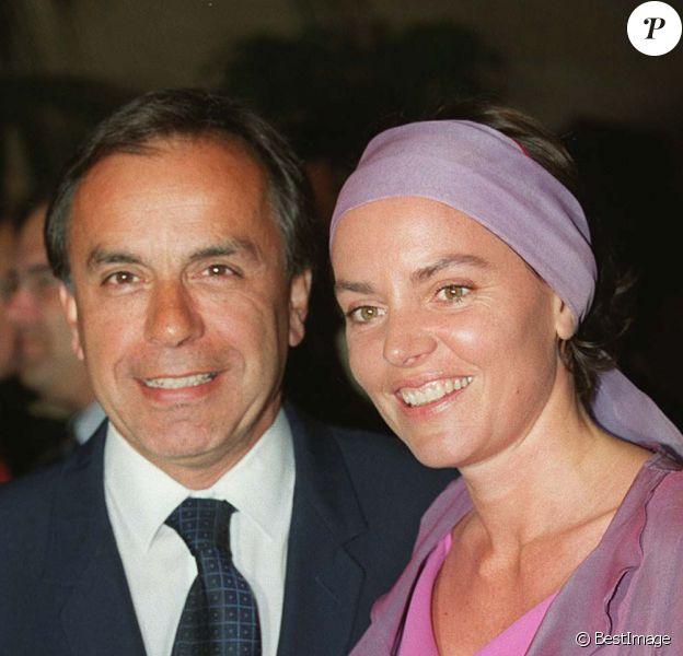 Patrice et Cendrine Dominguez lors de la soirée de l'Open de Monte Carlo, au Sporting Club de Monaco le 20 avril 1999