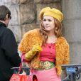 Isla Fisher sur le tournage du film Confessions d'une accro au shopping
