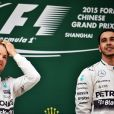 Lewis Hamilton, vainqueur du Grand Prix de Chine à Shanghai devant son coéquipier Nico Rosberg et Sebastian Vettel, le 14 avril 2015