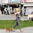 Ireland Baldwin à Venice Beach avec son chien Hops, le 5 février 2015