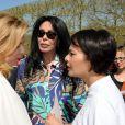 Valerie Trierweiler au rassemblement au Champ-de-Mars à Paris le 14 Avril 2015 pour les 219 lycéennes enlevées par Boko Haram il y a un an.