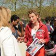 Valerie Trierweiler et Frigide Barjot au rassemblement au Champ-de-Mars à Paris le 14 Avril 2015 pour les 219 lycéennes enlevées par Boko Haram il y a un an.