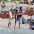 Russell Simmons et son ex-femme Kimora Lee Simmons (enceinte) en vacances en famille à Saint-Barthélémy le 18 décembre 2014
