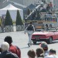 L'acteur et réalisateur Ben Stiller en action sur le tournage de Zoolander 2, Via Dei Fiori Imperiali, Rome, le 15 avril 2015. Le jeune Cyrus Arnold le poursuit.