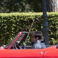 Ben Stiller et le jeune acteur Cyrus Arnold sur le tournage de Zoolander 2 à Rome, le 13 avril 2015.