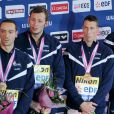 Jeremy Stravius, Amaury Leveaux, Frederick Bousquet et Florent Manaudou, relais 4 x 50 m nage libre lors des Championnats d'Europe de natation à Chartres le 25 Novembre 2012.