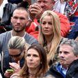 Le capitaine de l'équipe de football de Nice, Didier Digard et sa compagne, ont assisté à la victoire de Novak Djokovic en 3 sets sur Tomas Berdych en finale de la 109ème édition du Monte Carlo Rolex Masters à Roquebrune-Cap-Martin le 19 avril 2015.