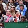 L'actrice Cyrielle Clair et son époux Michel Corbière, à gauche, le patron d'Aquaboulevard, et l'ancien champion de Tennis, Pierre Barthès, ont assisté à la victoire de Novak Djokovic en 3 sets sur Tomas Berdych en finale de la 109ème édition du Monte Carlo Rolex Masters à Roquebrune-Cap-Martin le 19 avril 2015.