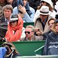 L'actrice Cyrielle Clair et son époux Michel Corbière, à gauche, le patron d'Aquaboulevard, Michel Combes, à droite, le directeur général du groupe Alcatel-Lucent et l'ancien champion de Tennis, Pierre Barthès, ont assisté à la victoire de Novak Djokovic en 3 sets sur Tomas Berdych en finale de la 109ème édition du Monte Carlo Rolex Masters à Roquebrune-Cap-Martin le 19 avril 2015.