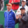 L'ancien champion de tennis et entraineur de Novak Djokovic, Boris Becker a assisté à la victoire de Novak Djokovic en 3 sets sur Tomas Berdych en finale de la 109ème édition du Monte Carlo Rolex Masters à Roquebrune-Cap-Martin le 19 avril 2015.