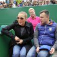 Jelena Djokovic a assisté à la victoire de son mari Novak Djokovic en 3 sets sur Tomas Berdych en finale de la 109ème édition du Monte Carlo Rolex Masters à Roquebrune-Cap-Martin le 19 avril 2015.