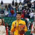 Tomas Berdych, Novak Djokovic en compagnie de la baronne Elisabeth-Ann de Massy et sa fille Mélanie-Antoinette de Massy - Tournoi de tennis Rolex Masters de Monte-Carlo à Roquebrune-Cap-Martin, le 19 avril 2015.