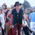 """Johnny Hallyday et sa femme Laeticia Hallyday au 5 ème jour du Festival de """"Coachella Valley Music and Arts"""" à Indio Le 18 avril 2015"""