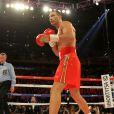 Wladimir Klitschko lors d'un combat de boxe contre Bryant Jennings sous les yeux de sa fiancée Hayden Panettiere à New York, le 25 avril 2015.