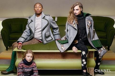Pharrell Williams et Cara Delevingne : Chic famille bien au chaud pour Chanel