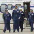 Le roi Felipe VI d'Espagne visite la base aérienne de Saragosse le 4 mai 2015