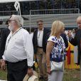 Le roi Juan Carlos Ier d'Espagne au Grand Prix de moto de Jerez le 3 mai 2015.