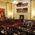 Le roi Felipe VI d'Espagne assistait le 5 mai 2015 à la réunion du 150e anniversaire de l'Union Internationale des Télécommunications à Madrid.
