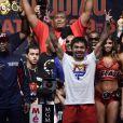 """Manny Pacquiao lors de la pesée à la MGM Grand Garden Arena de Las Vegas le 1er mai 2015 avant """"le combat du siècle"""""""