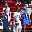 Alexandra de Hanovre, Pauline Ducruet, Camille Gottlieb, Andrea Casiraghi - Baptême de Jacques et Gabriella en la cathédrale Notre-Dame-Immaculée de Monaco le 10 mai 2015O